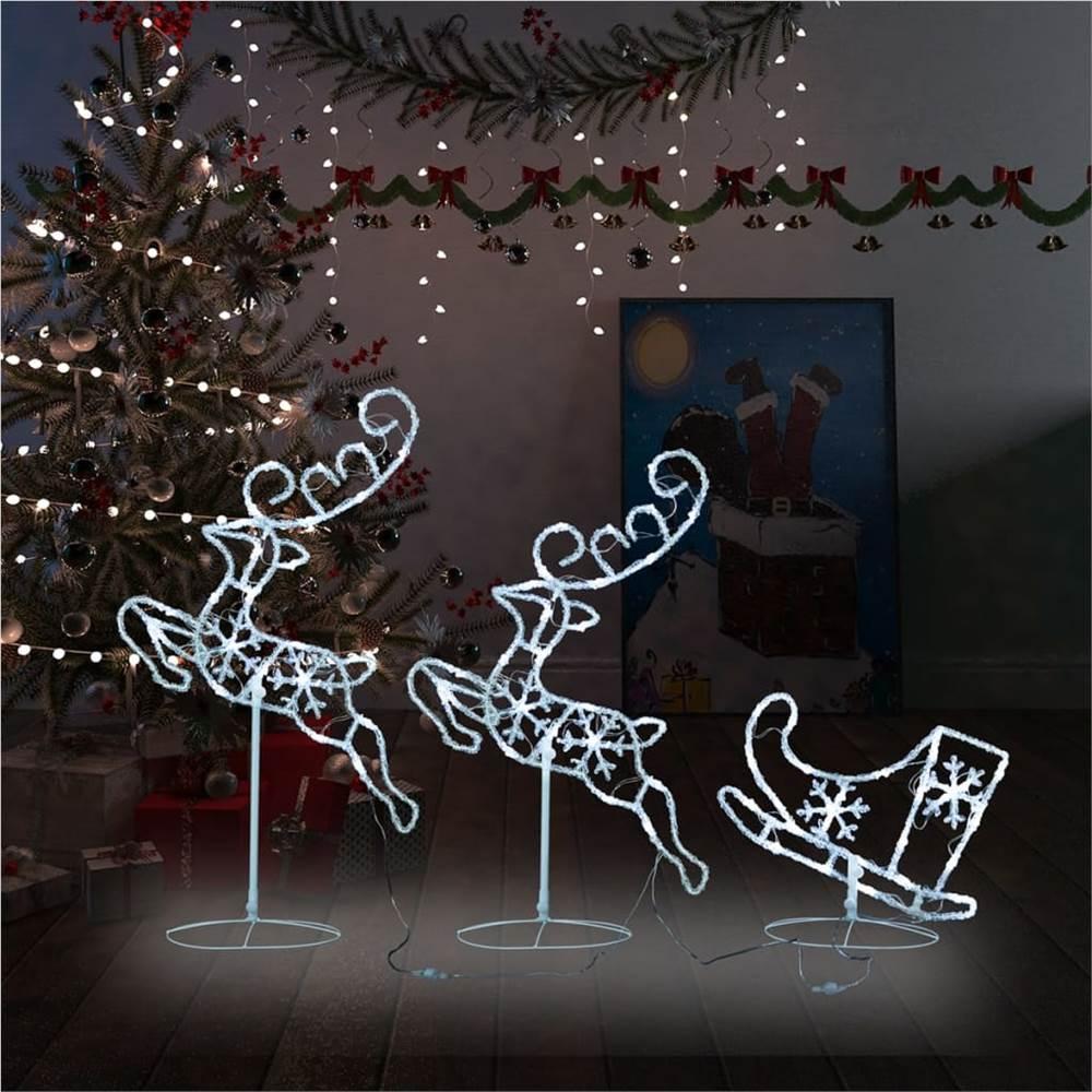 Acrylic Christmas Flying Reindeer&Sleigh 260x21x87cm Cold White