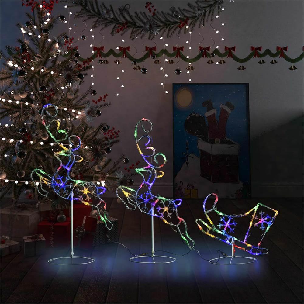 Acrylic Christmas Flying Reindeer&Sleigh 260x21x87cm Colourful