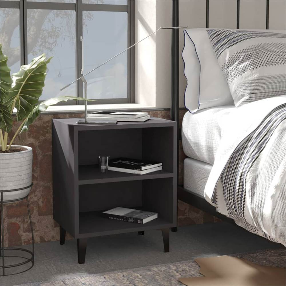 Bed Cabinet with Metal Legs Grey 40x30x50 cm