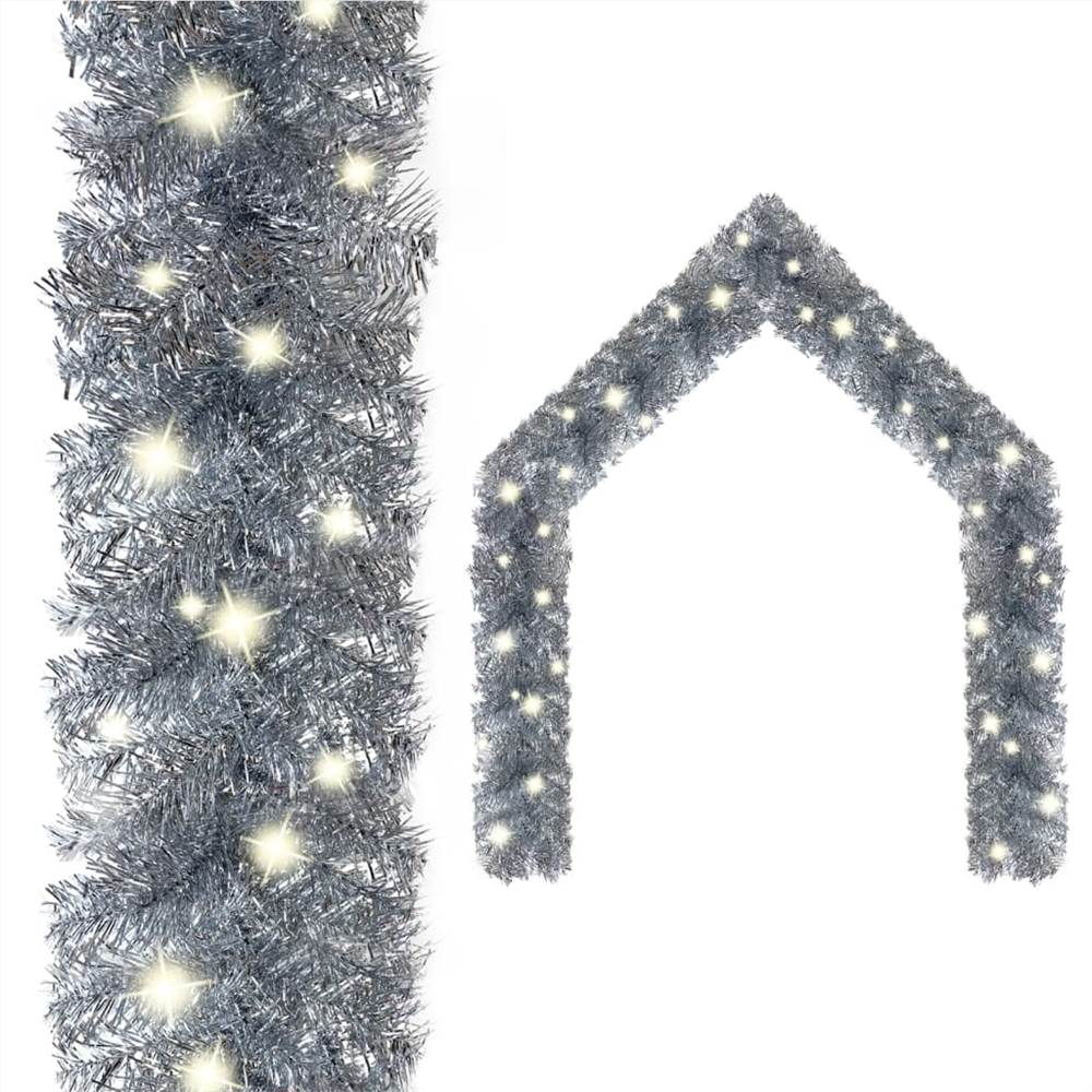 Christmas Garland with LED Lights 5 m Silver