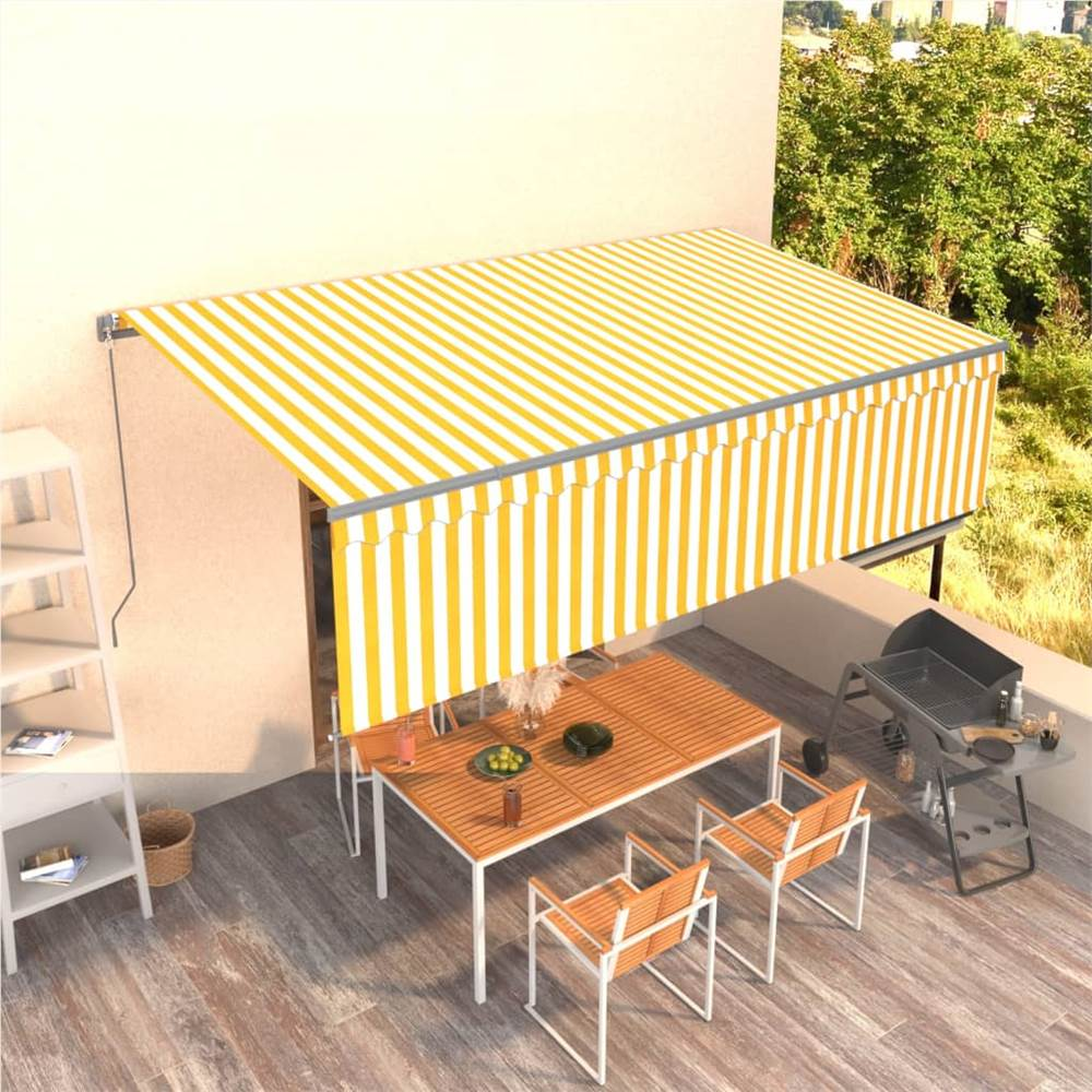 Manual Retractable Awning with Blind 5x3m Yellow&White