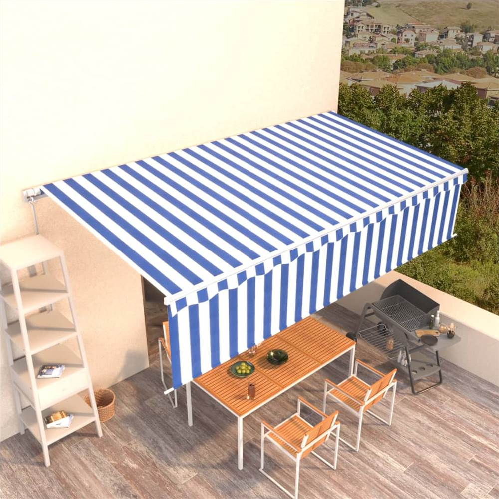 Manual Retractable Awning with Blind 6x3m Blue&White