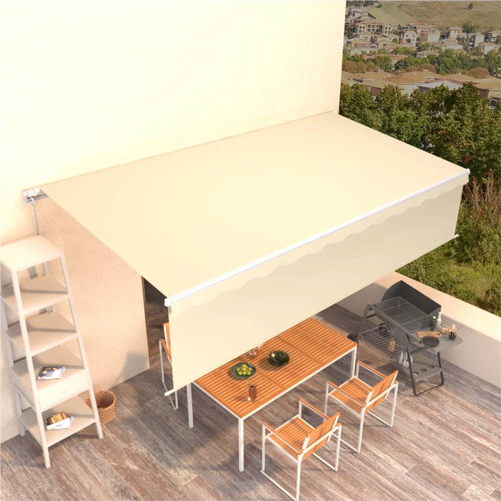 Manual Retractable Awning with Blind 6x3m Cream