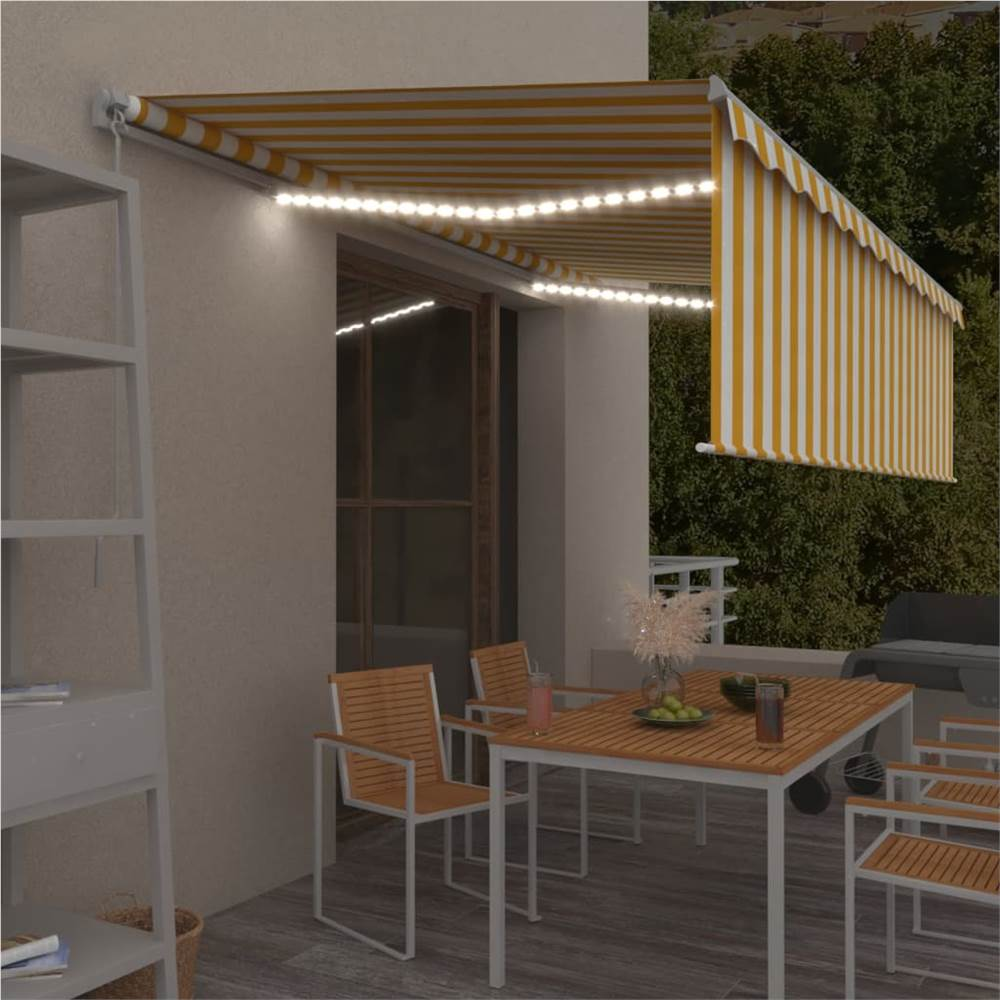 Manual Retractable Awning with Blind&LED 5x3m Yellow&White