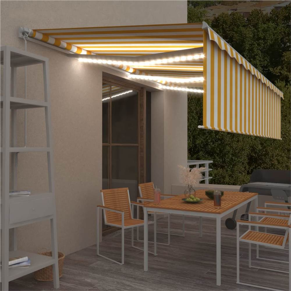 Manual Retractable Awning with Blind&LED 6x3m Yellow&White