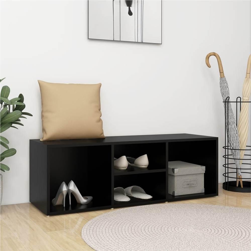 Shoe Storage Bench Black 105x35x35 cm Chipboard
