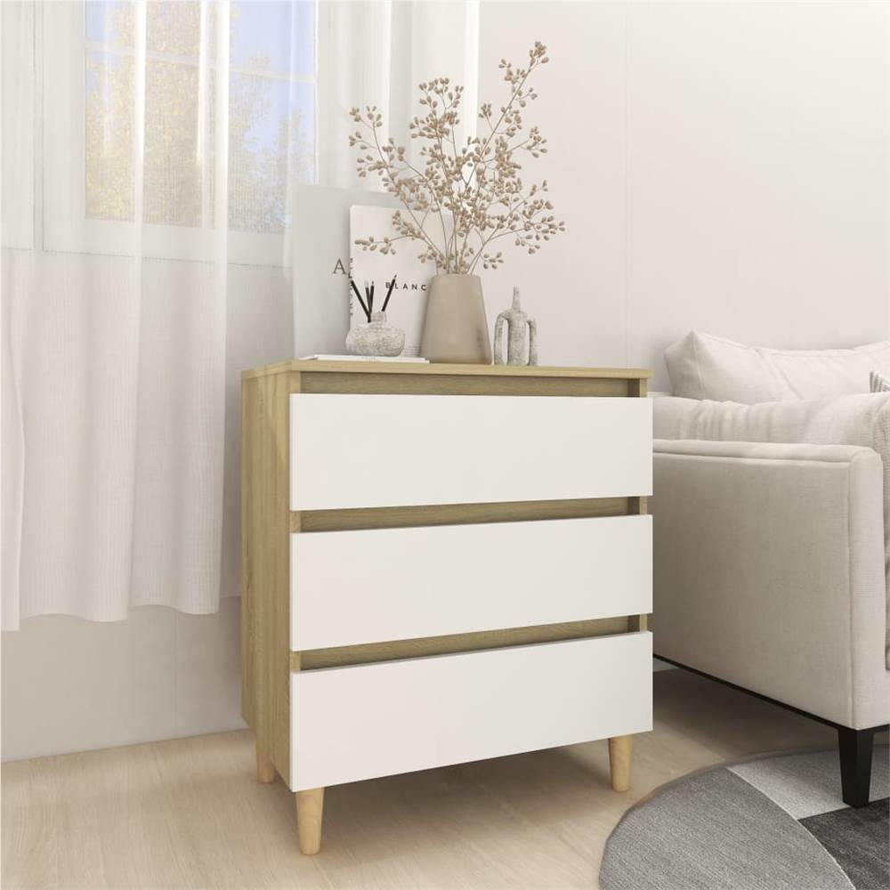 Sideboard White and Sonoma Oak 60x35x69 cm Chipboard