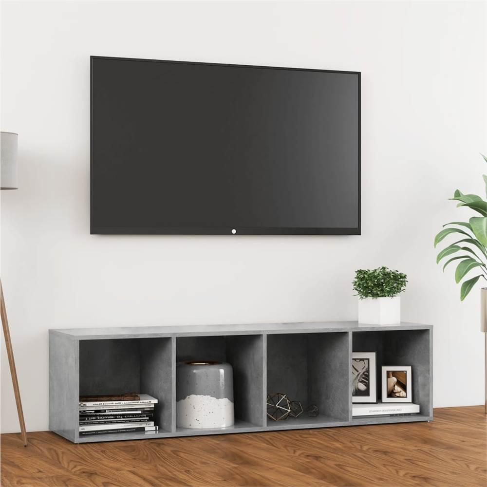 TV Cabinet Concrete Grey 142.5x35x36.5 cm Chipboard