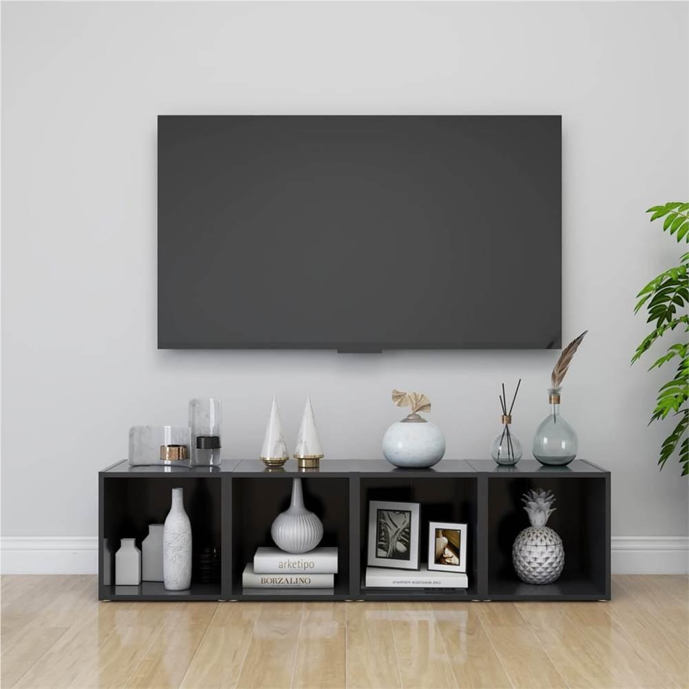 TV Cabinets 4 pcs Grey 37x35x37 cm Chipboard
