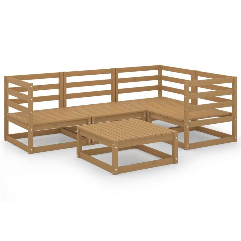 5 Piece Garden Lounge Set Honey Brown Solid Pinewood