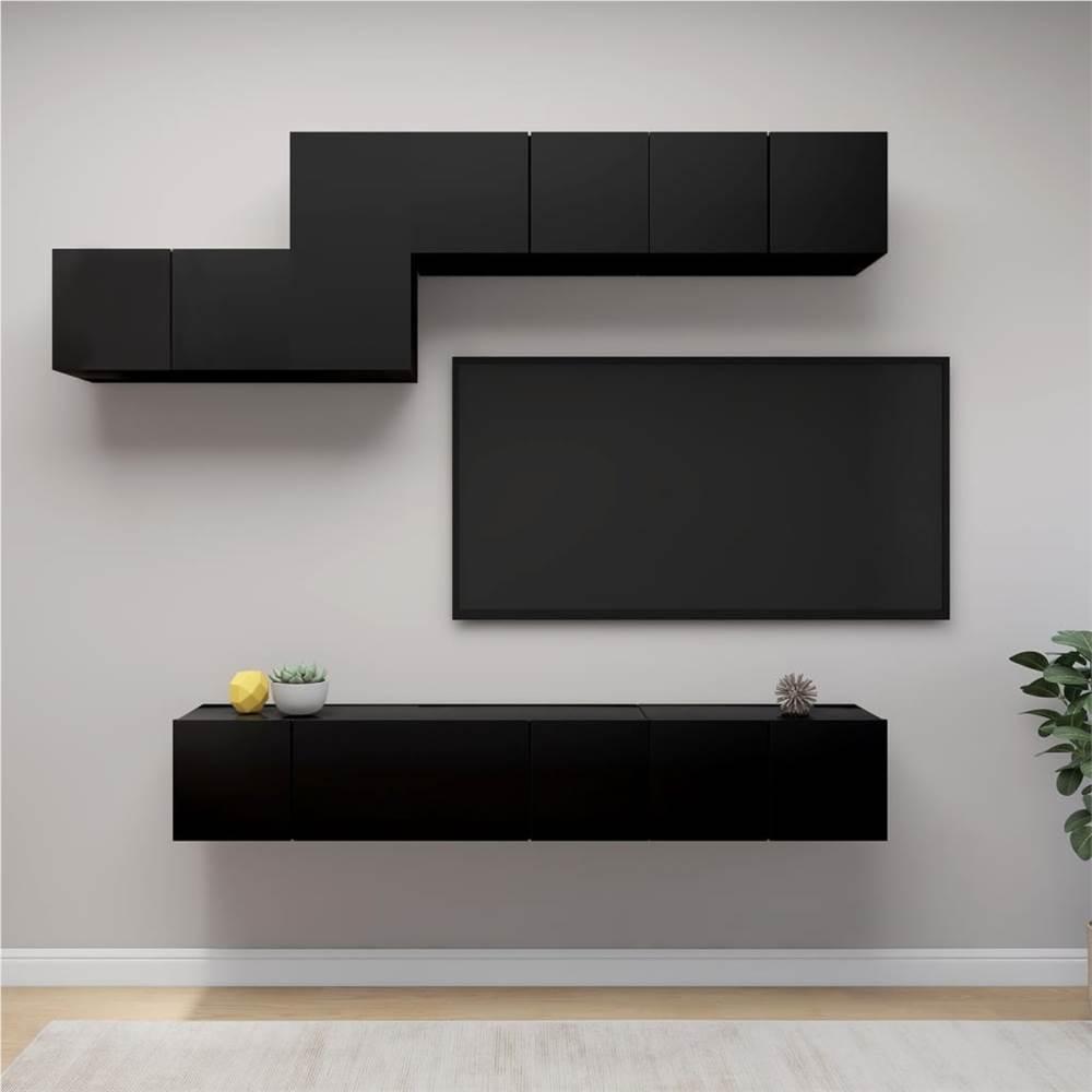 7 Piece TV Cabinet Set Black Chipboard