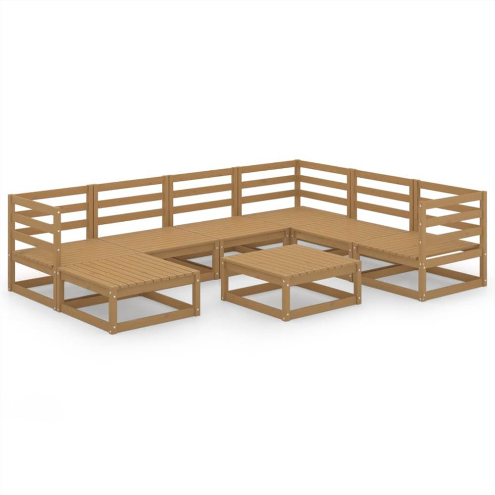 8 Piece Garden Lounge Set Honey Brown Solid Pinewood