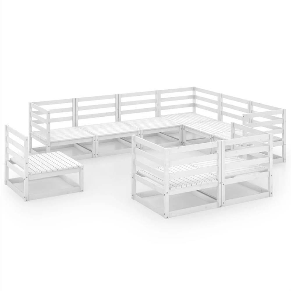 9 Piece Garden Lounge Set White Solid Pinewood