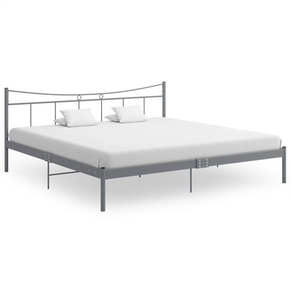 Bed Frame Grey Metal and Plywood 180x200 cm