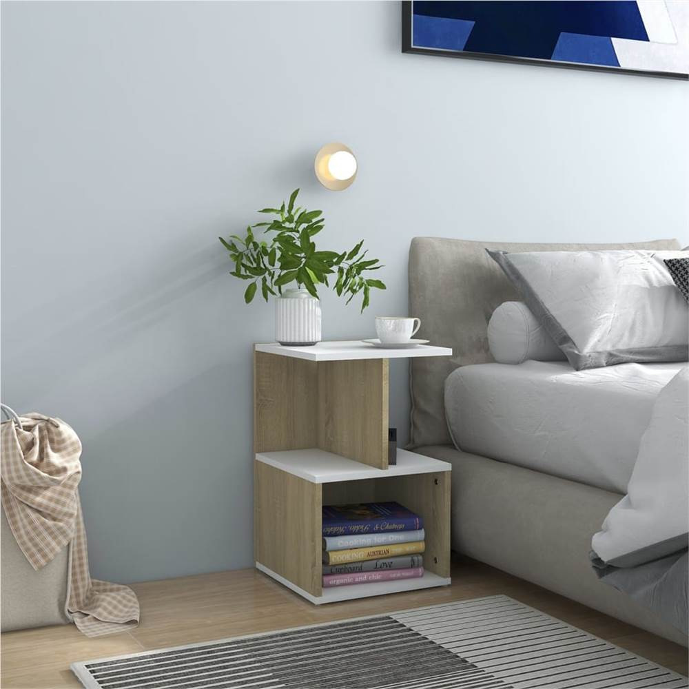 Bedside Cabinet White and Sonoma Oak 35x35x55 cm Chipboard